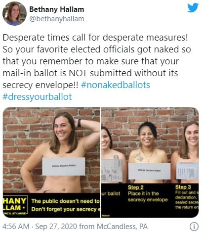 Pennsylvania lawmakers pose with naked ballots.