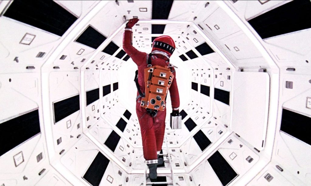 A still from 2001: A Space Odyssey, one of the best Sci-Fi dystopias ever made.