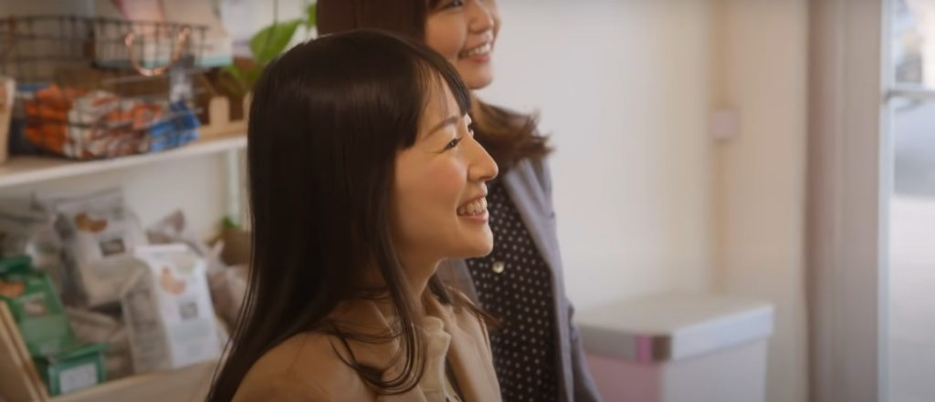 A still from Sparking Joy With Marie Kondo, as she helps her clients tidy up their spaces.