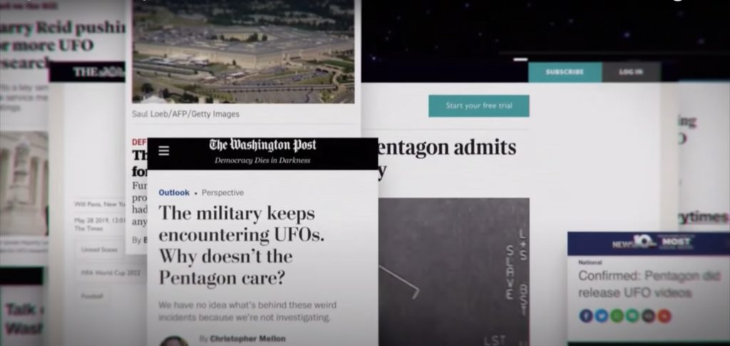 A Still from Top Secret UFO Projects Declassified covering the various news articles talking about UFO sightings.