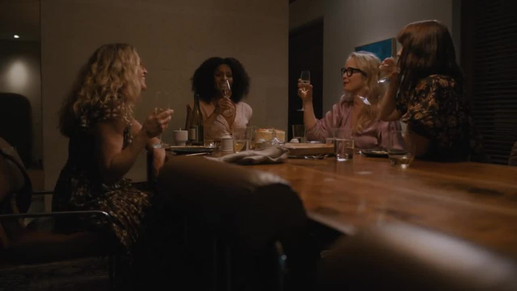 A still from On the Verge featuring Alexia Landeau, Elizabeth Shue, Sarah Jones, and Julie Delpy.